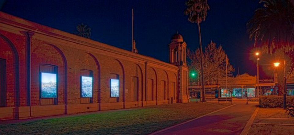 Photos of Intercept Exhibition at historic Market Building in Castlemaine by night.