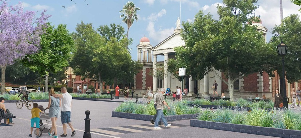 Castlemaine Streetscape Plan - Artists impression of a plaza on Mostyn Street.