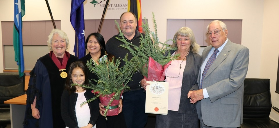 Mount Alexander Shire Council welcomes our new citizens. Mayor Bronwen Machin with Leova and Garry Marston (daughter Casey at front), and Elizabeth and Clive Sharplin.