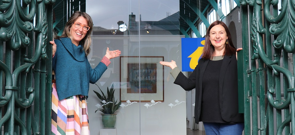 Clare and Aileen open doors to the Visitor Information Centre.