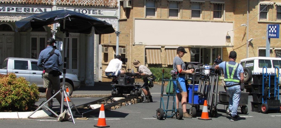 Image: Filming the production of Glitch in Lyttleton Street Castlemaine  Link to child page: Filming in the shire
