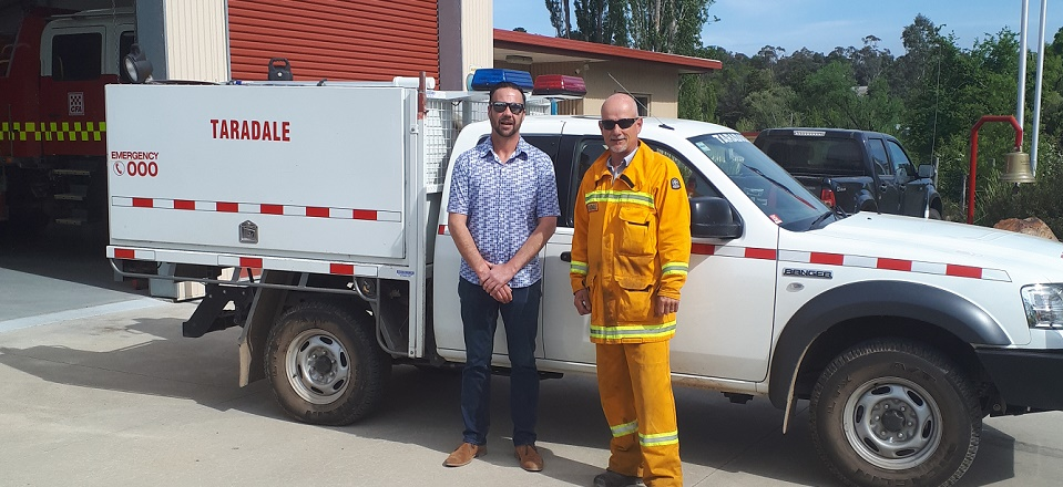 Luke and Rob in front of the CFA ute at Taradale