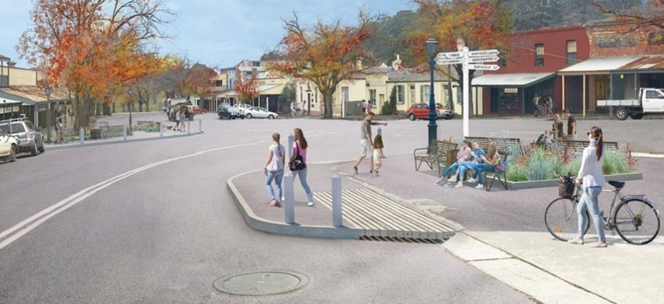 Artist impression to improve the streetscape on the Old Bank corner in Maldon.