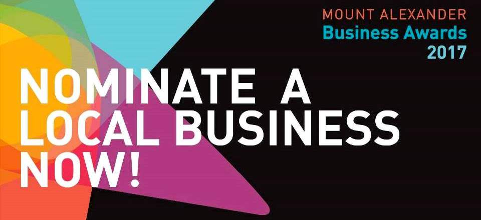 Image: Mount Alexander Business Awards 2017. Nominate a local business now.  Link to child page: Business Awards
