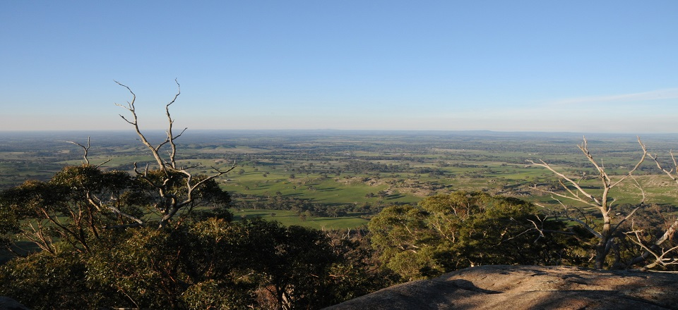 Image: View from Mt Alexander  Link to child page: Climate change and sustainability