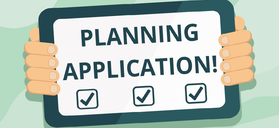 Hands holding a planning application sign with simple checklist
