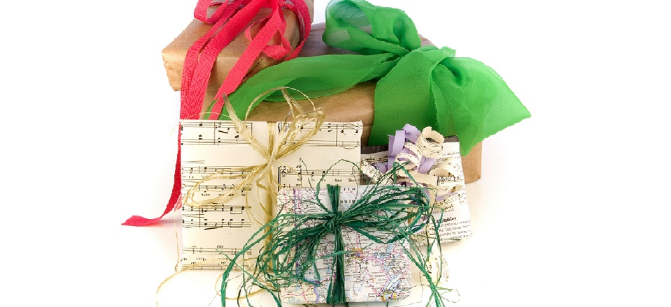 Christmas gifts wrapped in recycled materials