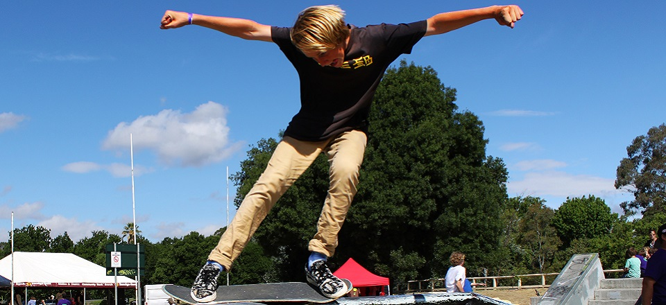 Image: Skateboarding  Link to child page: BMX and skate parks