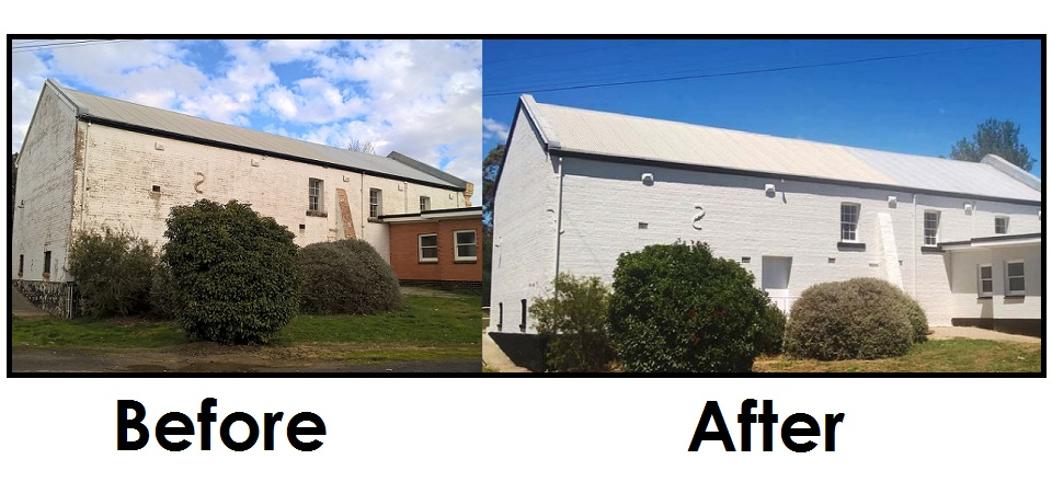 Taradale Hall before improvement works and after with fresh paint.
