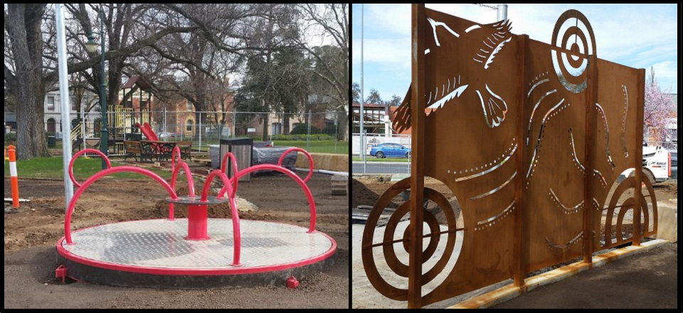 New carousel and shadow wall at Victory Park play space.