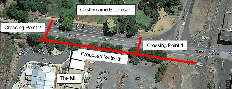 Image showing location of 2 proposed pedestrian crossing points on Walker Street Castlemaine.