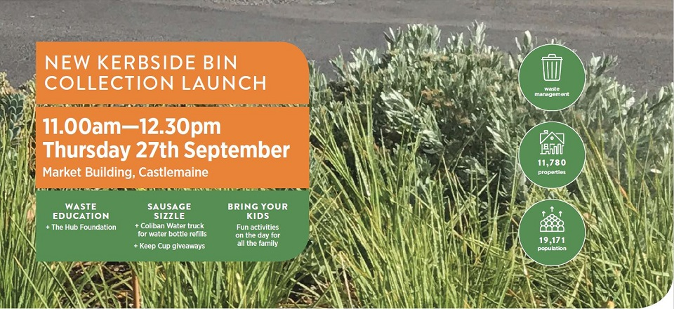 Bin collection launch 11am to 12.30pm on Thursday 27 Sept at the Market Building in Castlemaine.