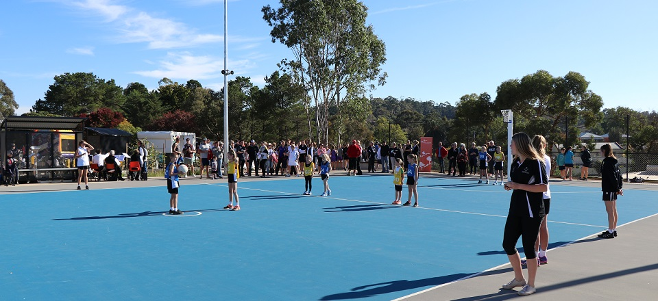 Netballers try out the new courts at Wesley Hill Recreation Reserve