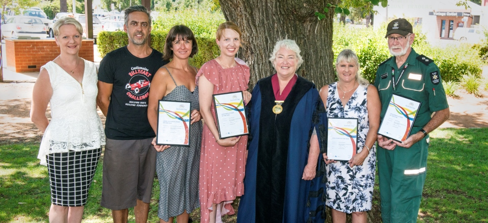 Image: 2018 Mount Alexander Shire Australia Day Award Recipients from L-R: State Member for Bendigo West Maree Edwards MP with Castlemaine Billy Cart Challenge organisers Camilo Demarco and Jane Goodrich, Grace Saltmarsh, Mayor Bronwen Machin, Maryanne Murdoch and Ken McDougall. Photo by Diana Domonkos.  Link to child page: Australia Day Awards and celebrations