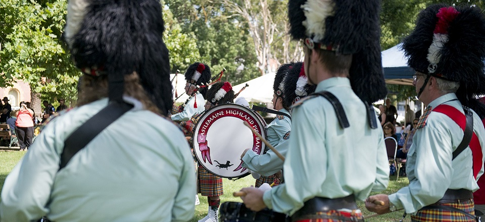 Image: The Castlemaine Highland Pipe Band are the opening entertainment at our Australia Day community event in Victory Park each year.  Link to child page: Event planning and applications