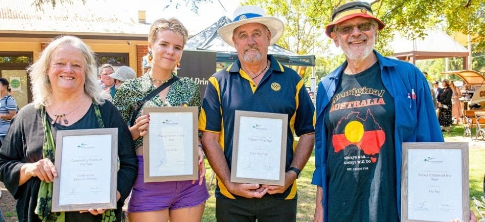 2020 Australia Day Award recipients - SallyRose Carbines, President, Castlemaine Farmers Market with Ada Levis, Gary McClure and Vic Say. Photo by Diana Domonkos.
