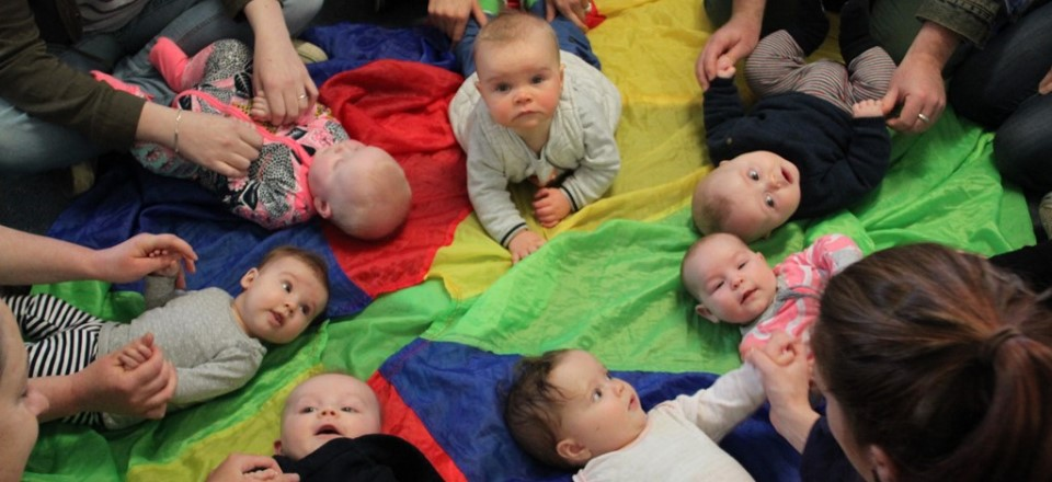 Image: Babies play on the floor at new parents group in Mount Alexander Shire  Link to child page: Maternal and child health