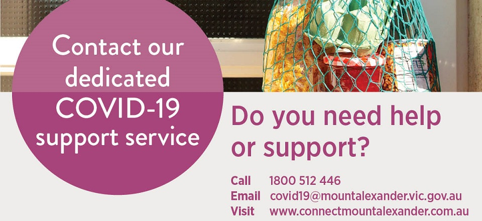 Contact details for Mount Alexander Shire's COVID-19 Support Service.