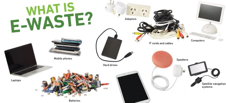 Image of e-waste like computer, keyboard, batteries, mouse.