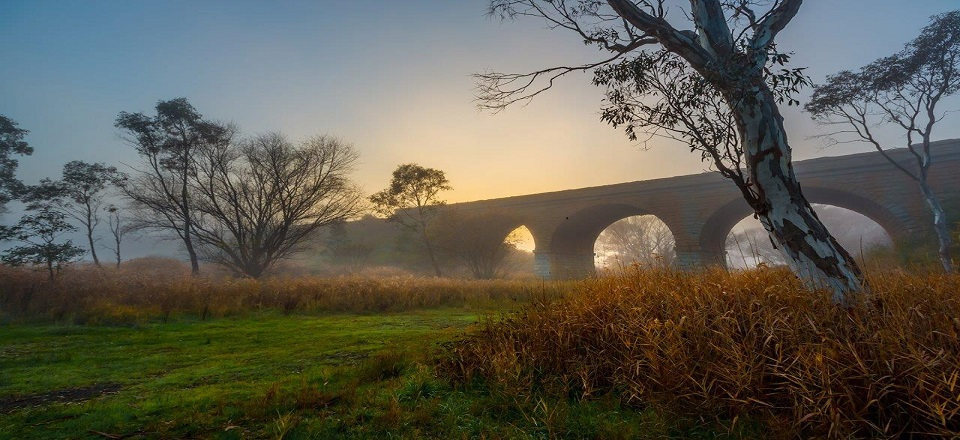 Image: Historic railway viaduct in Harcourt. Photo by Richard Baxter Photography.  Link to child page: Roads, footpaths, bridges and other infrastructure