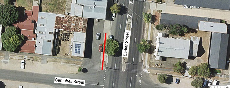 Map showing scope of footpath renewal works Barker St Nth Bound - From Campbell Street to 2nd driveway access for PJ's Tyre Service.