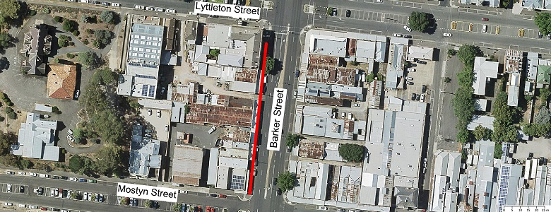 Map showing scope of footpath renewal works Barker St Nth Bound - From Mostyn Street to Lyttleton Street.