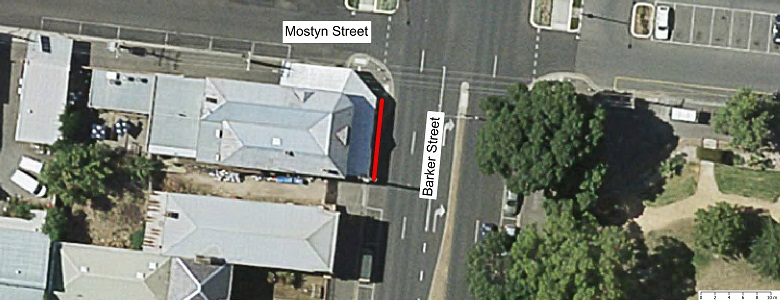 Map showing scope of footpath renewal works Barker St Nth Bound – South of Mostyn Street fronting the Criterion Hotel.