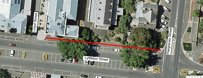 Map showing scope of footpath renewal works Lyttleton St (Nth side) - From Lloyd Street to Hargraves Street.