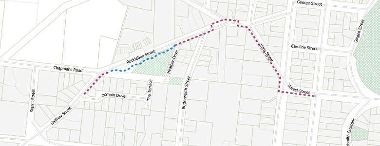 Map showing the general alignment of proposed footpath along Reckleben Street.