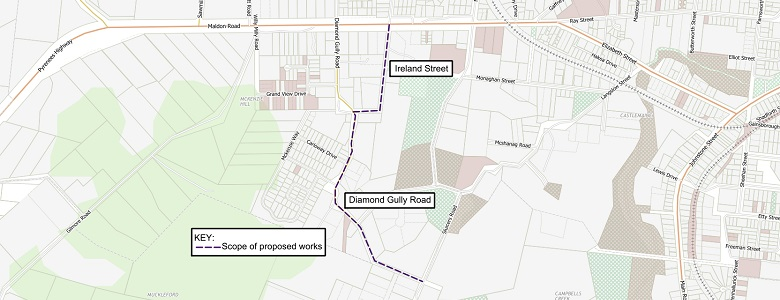 A street map indicating the scope of works to be undertaken on Diamond Gully Rd and Ireland St, McKenzie Hill.