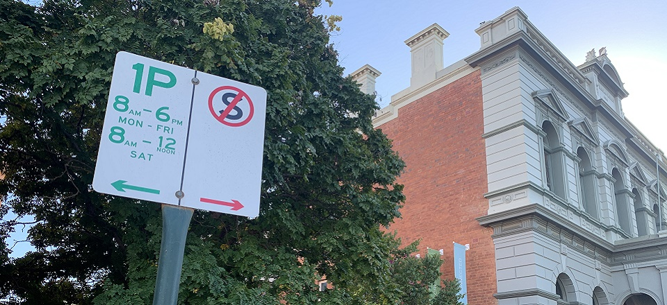Image: Parking sign near Civic Centre  Link to child page: Local Laws and fines