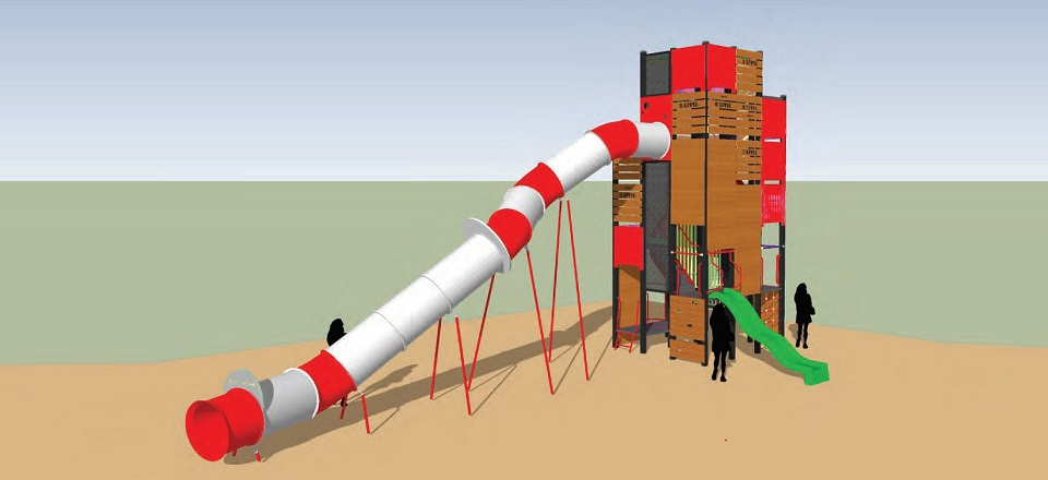 Illustration of play tower to be included in the new play space at Stanley Park North in Harcourt.