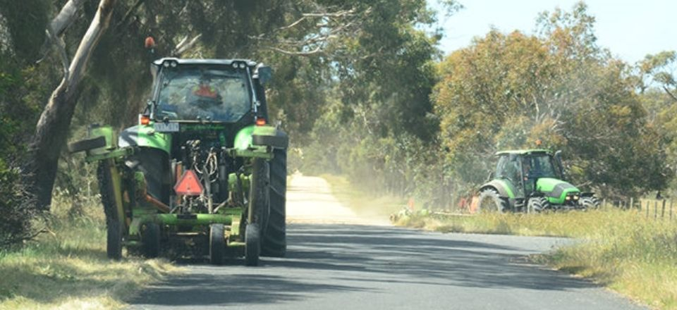 Council undertaking its roadside slashing program.