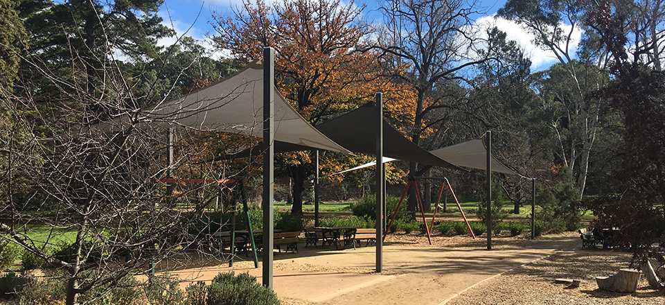 Image: Shade Sails at Castlemaine Botanical Gardens.  Link to child page: Barbeques