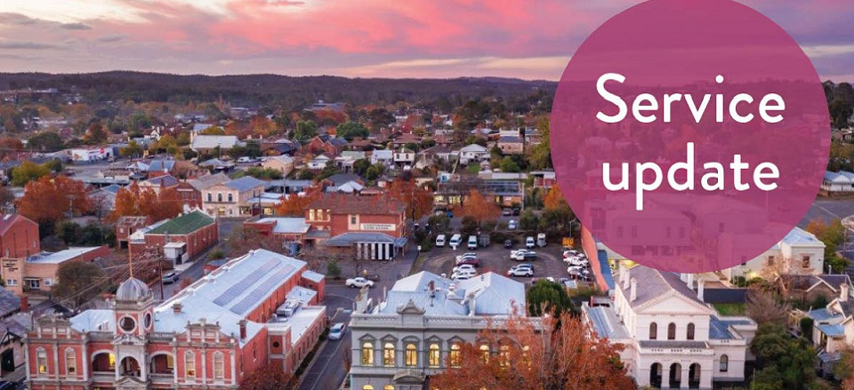 Image: Sunset in Castlemaine  Link to child page: Update on Council services