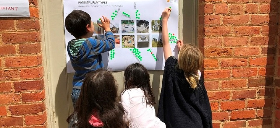 Local children were excited to have their say on the designs for the new Victory Park play space.
